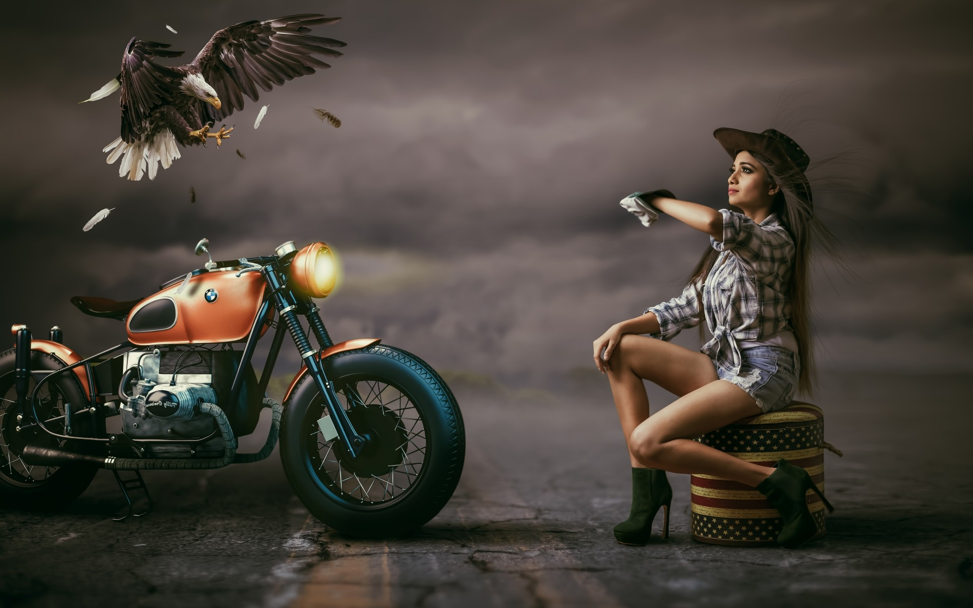 Beautiful Woman Cowgirl Hat Alongside With Bmw Bike Eagle