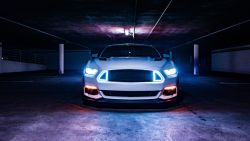 Ford Mustang Neon lights 5K Wallpaper