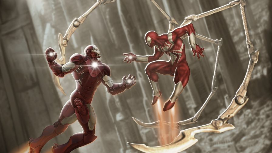 Iron Man And Red Scarlet Spiderman 4k
