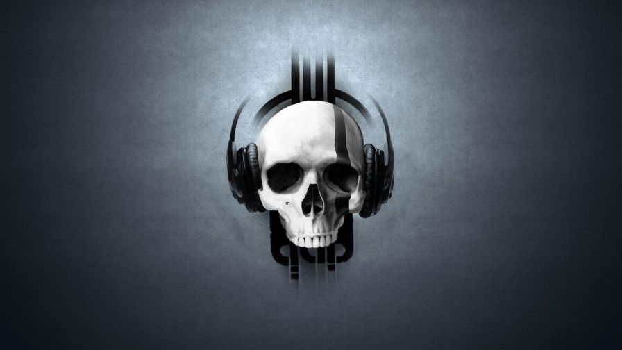 Skull wearing headphones