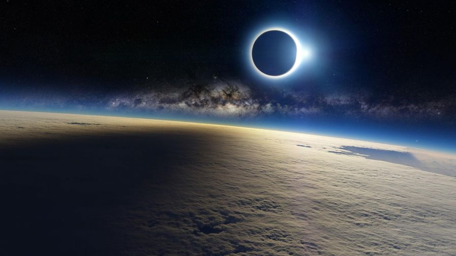 Solar Eclipse From Space 4K Wallpaper